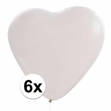 Hartjes ballon wit 6 stuks