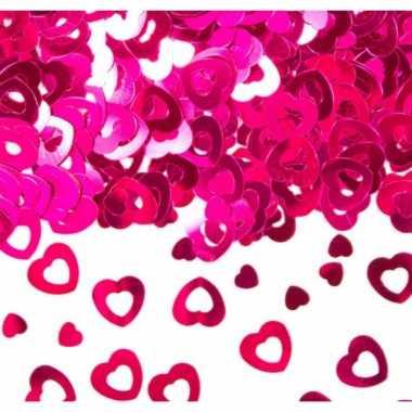 Hartjes confetti roze 30 gram