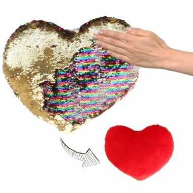 Hartjes kussen goud/rood metallic met pailletten 30 cm