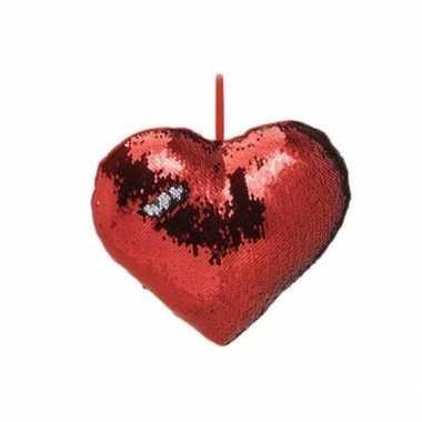 Hartjes kussen rood metallic met pailletten 30 cm