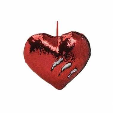 Hartjes kussen rood metallic met pailletten 35 cm