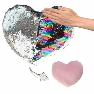 Hartjes kussen zilver/roze metallic met pailletten 30 cm