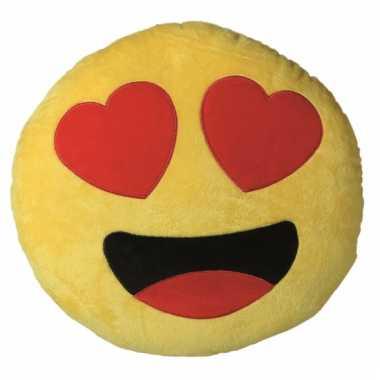 Hartjesogen emoji kussen 30 cm
