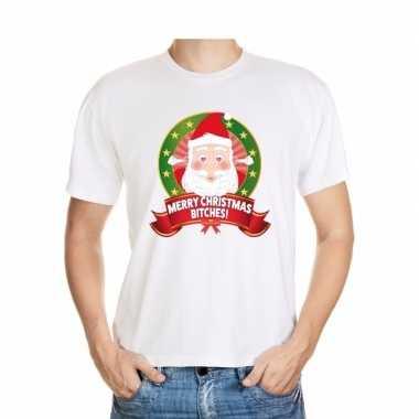 Hartjesogen kerstman shirt wit - merry christmas bitches - voor heren