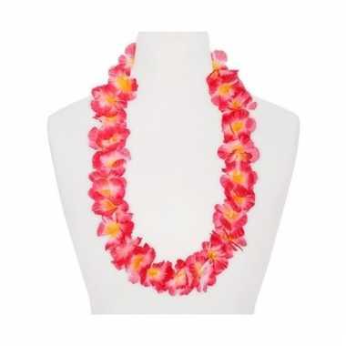 Hawaii bloemenketting roze/oranje