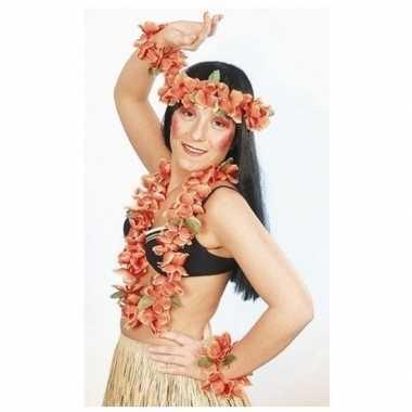 Hawaii bloemenkransen oranje set