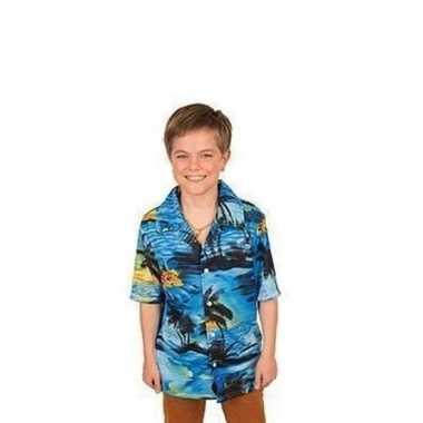 Hawaii blouse/overhemd blauw voor jongens