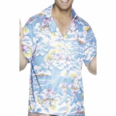 Hawaii feest shirts blauw