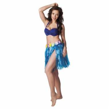 Hawaii rokje blauw 45 cm voor dames