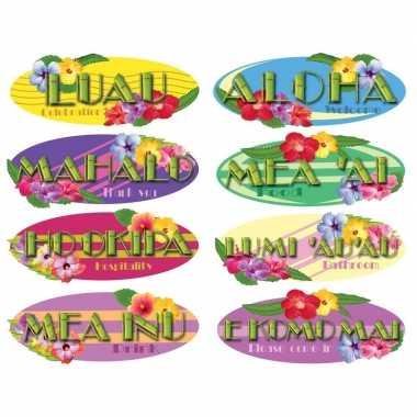 Hawaii thema decoratie borden 8 stuks