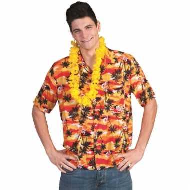 Hawaii verkleed blouse rood/oranje