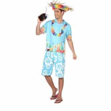 Hawaiiaanse blouse verkleed kostuum blauw voor heren