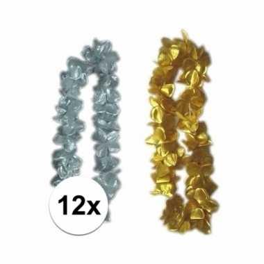 Hawaiikrans pakket zilver/goud 12x