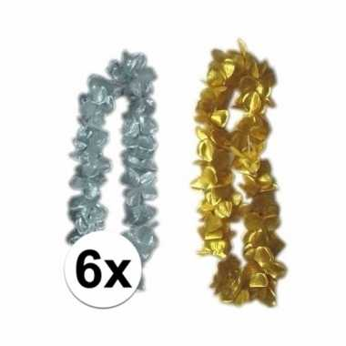 Hawaiikrans pakket zilver/goud 6x
