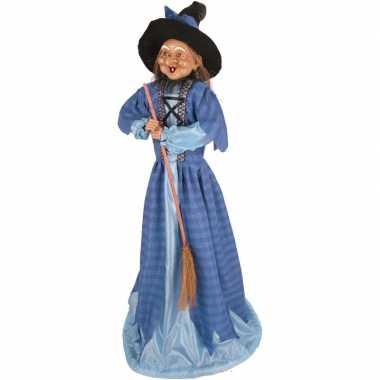Heks decoratie pop blauw 70 cm halloween versiering