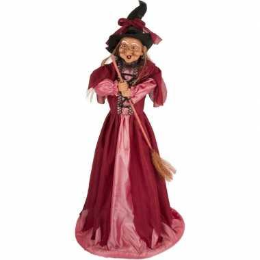 Heks decoratie pop fuchsia roze 70 cm halloween versiering