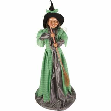 Heks decoratie pop groen 70 cm halloween versiering