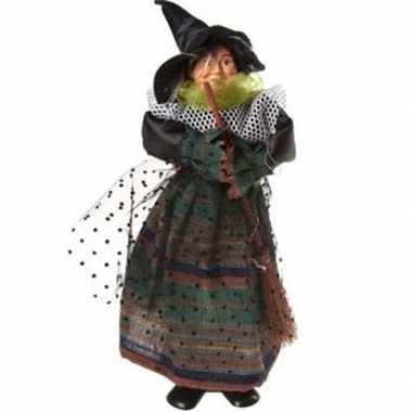 Heks decoratie pop groen/zwart 25 cm halloween versiering