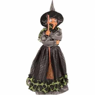 Heks decoratie pop groen/zwart 40 cm halloween versiering