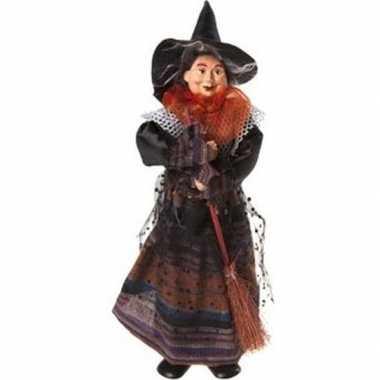 Heks decoratie pop oranje/zwart 25 cm halloween versiering