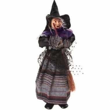 Heks decoratie pop paars/zwart 25 cm halloween versiering