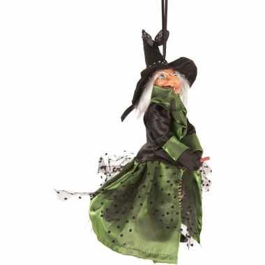 Heks hangdecoratie pop groen/zwart 25 cm halloween versiering