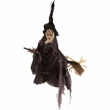 Heks hangdecoratie pop zwart 50 cm halloween versiering