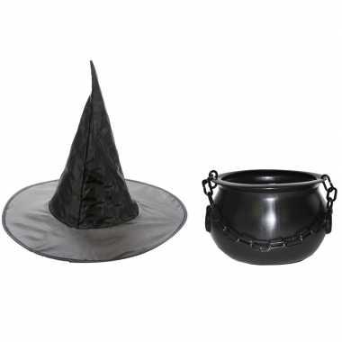 Heksen accessoires set hoed met ketel 25 cm voor meisjes