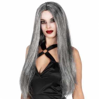 Heksen damespruik met lang grijs haar