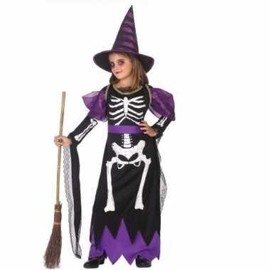 Heksen kids verkleed kostuum met skelet opdruk