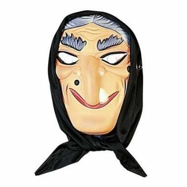 Heksen masker grijs haar met hoofddoek