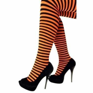 Heksen verkleedaccessoires panty maillot zwart/oranje voor dames