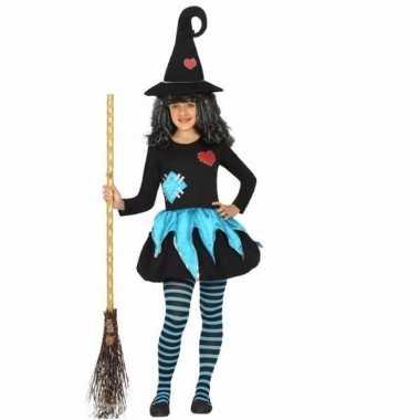 Heksen verkleedkleding blauw met zwart voor meisjes