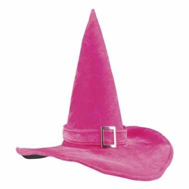Heksenhoed fluweel roze met gesp