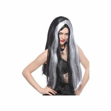 Heksenpruiken lang zwart/grijs