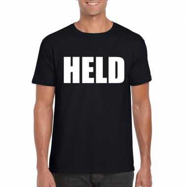 Held tekst t-shirt zwart heren