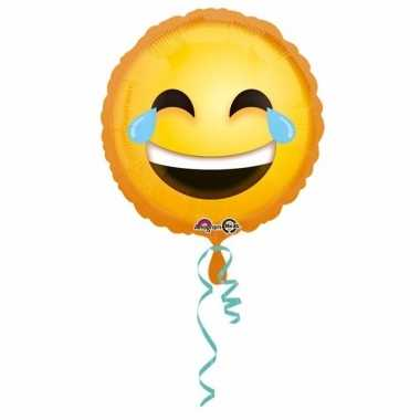 Helium ballon lachende smiley print 43 cm