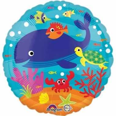 Helium ballon met zeedieren print 43 cm