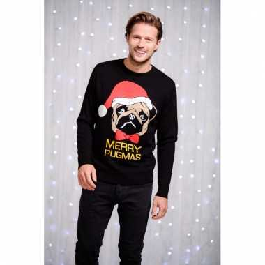 Heren kerstsweater met mopshondje