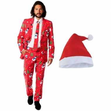 Heren opposuits kerst kostuum rood met kerstmuts - maat 54 (2xl)