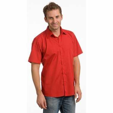 Heren overhemd rood van l&s korte mouw