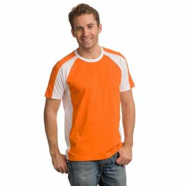 Heren supporters t-shirt oranje wit