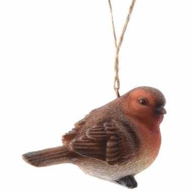 Herfststukje roodborstje vogel hanger 7 cm type 1