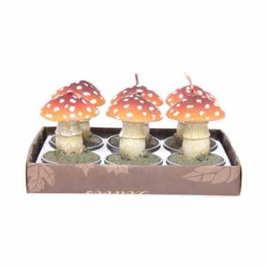Herfstthema paddenstoel kaarsjes