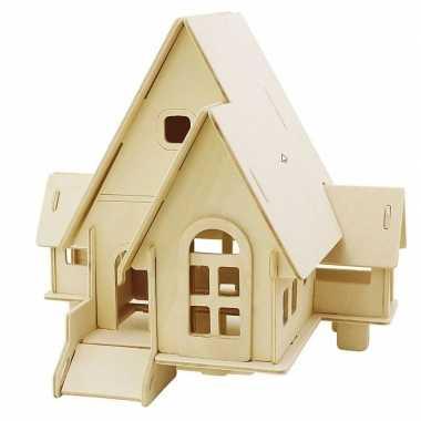 Houten 3d bouwpakket huis met puntdak 22 x 17 x 20 cm