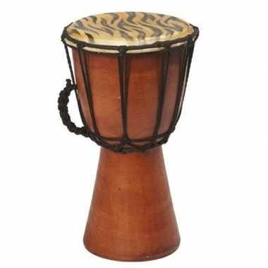 Houten drum instrument met tijgerprint 25cm