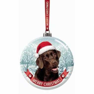 Huisdieren kerstballen honden labrador bruin 7 cm van glas