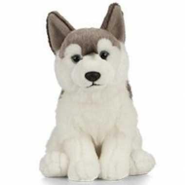 Huisdieren knuffels husky hond grijs/wit 60 cm