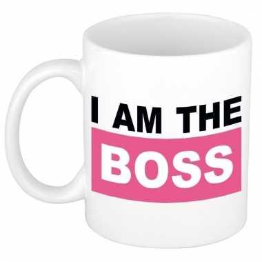 I am the boss mok / beker roze 300 ml