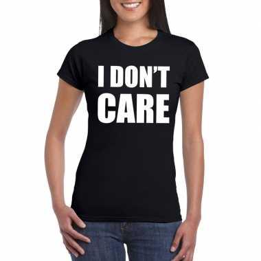 I dont care tekst t-shirt zwart dames